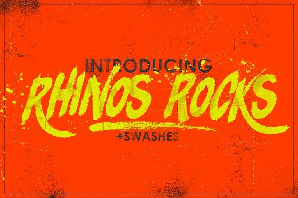 Rhinos-Rocks letra brocha cartel