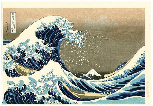 A grande onda, exemplo de impressão em bloco de madeira