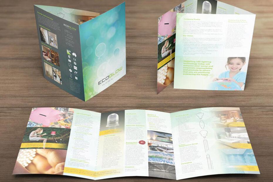 Plegado envolvente, ejemplos de folletos.