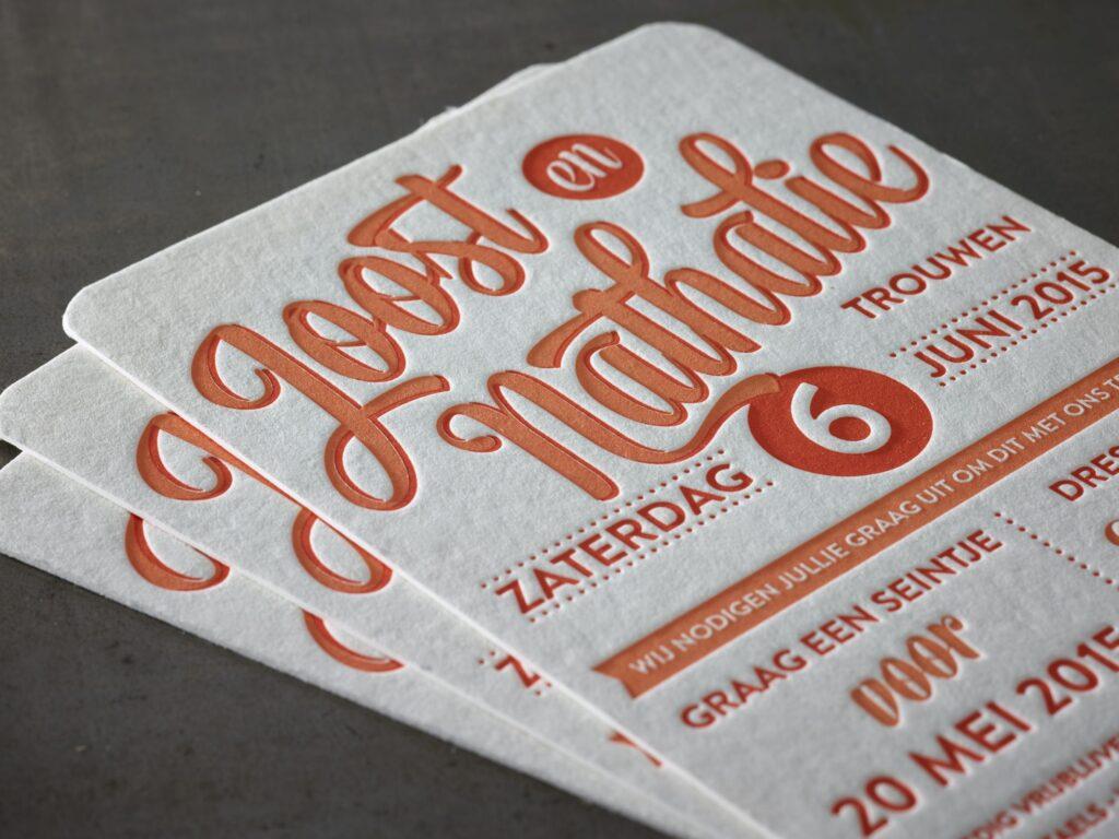 Tarjeta de visita realizada mediante impresión letterpress