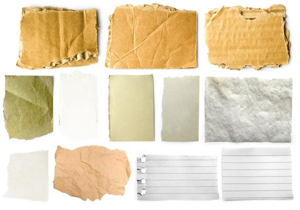 Papel para papel reciclado de distintos tipos.