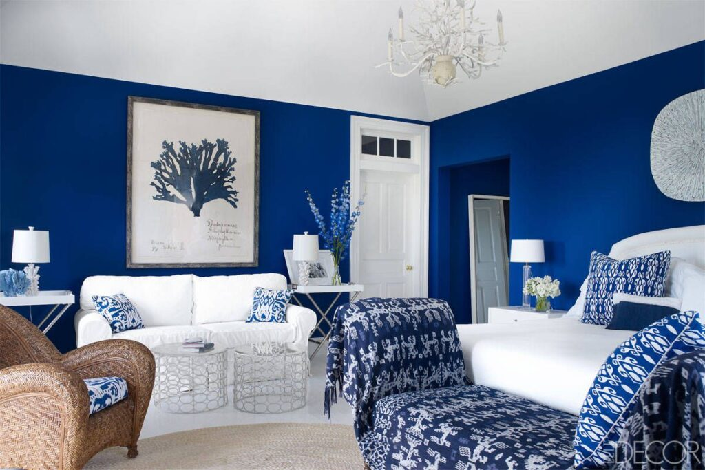 Room decorated in shades of blue