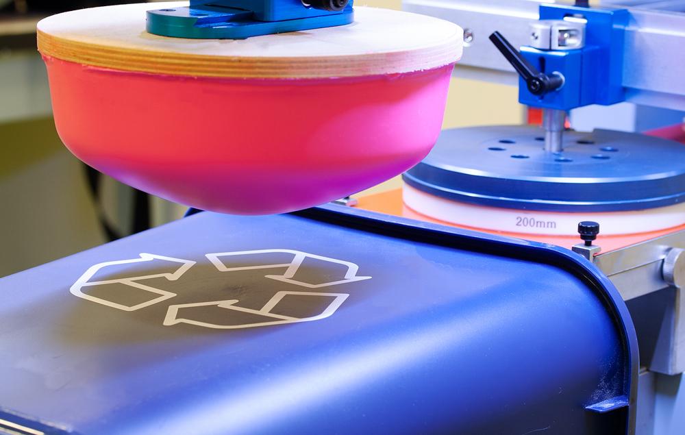 Impresión tampografía sobre papelera de reciclaje