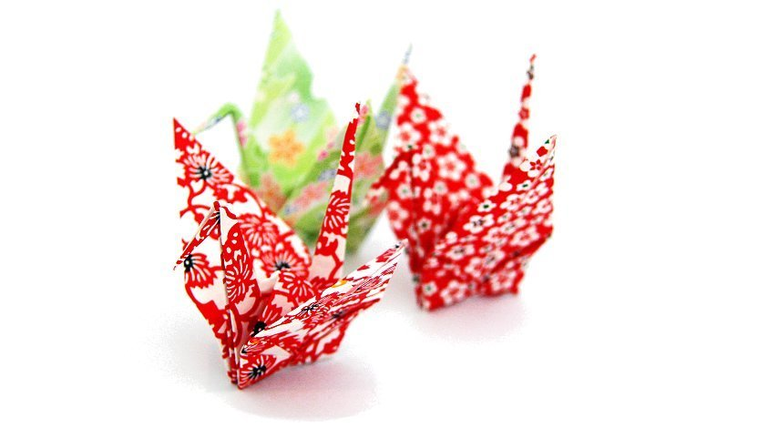 Ejemplo de origami hecho con papel japonés.