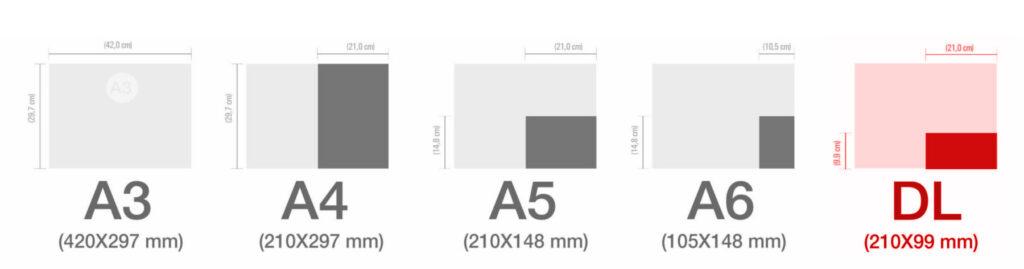 Medidas tamaños de papel DIN DL