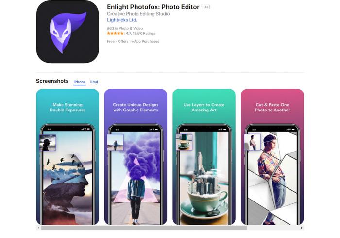 Application de conversion de photos en images EnlightPhotofox