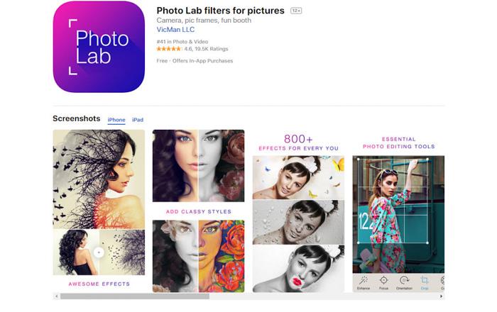 app photolab pour convertir des photos en images