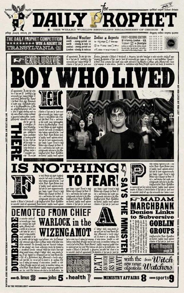 Tipografías de Harry Potter, el diario del Profeta.