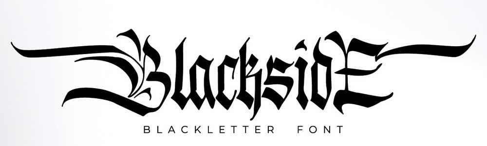 Gothic lettering for download, Blackside